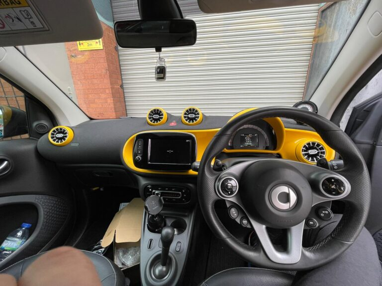 Smart car interior customisation and audio upgrade complete interior custom yellow wrapped at BB Audioconcepts Cardiff
